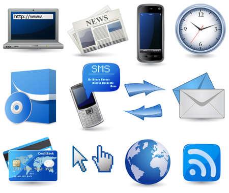 pointer stick: Business icon set sito - blu