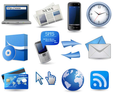 software icon: Business website icon set - blue