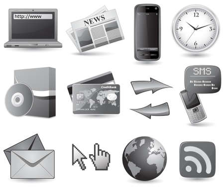 Business website icon set - grey Stock Vector - 5802062