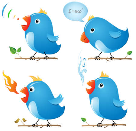 birds on branch: Thinking bird, speaking bird, angry bird and singing bird