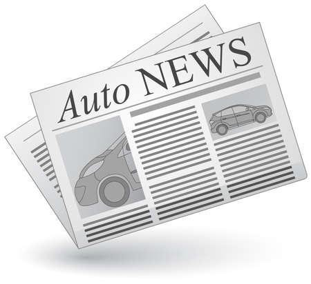 artikelen: Auto nieuws. Vector illustratie van auto's nieuws icoon.