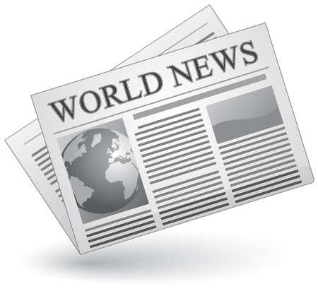 Concepto de prensa global. Ilustración de vector de icono de noticias del mundo.