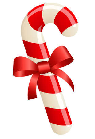 cane: Christmas candy cane with ribbon