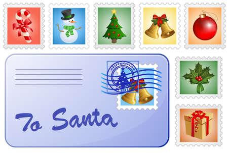 Christmas postcard and stamps. Mail for Santa and Christmas postage stamps. Vector