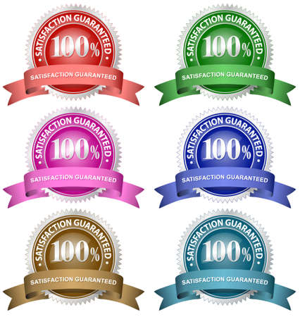 satisfaction guarantee: 100% Satisfaction Guaranteed Set. A variety of different colour guarantee badges. Illustration