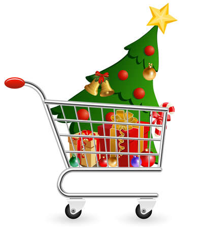 Vector illustration of shopping cart full of decoration and Christmas Tree