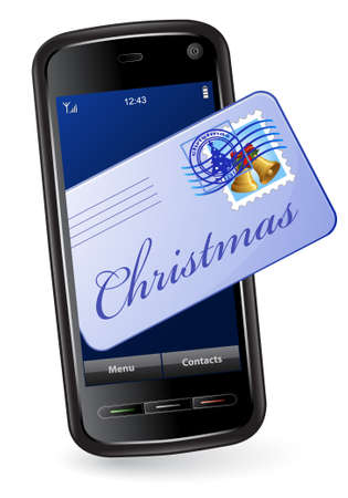 Christmas mobile phone with mail envelope Stock Vector - 6042697