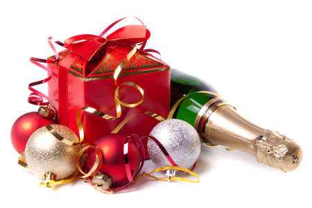 red gift box: Red gift box with bow and bottle of champagne Stock Photo