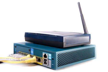 access point: wifi access point, network switch and patch cables Stock Photo