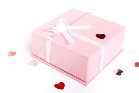 heart gift box: Pink gift box with satin bow isolated on white background
