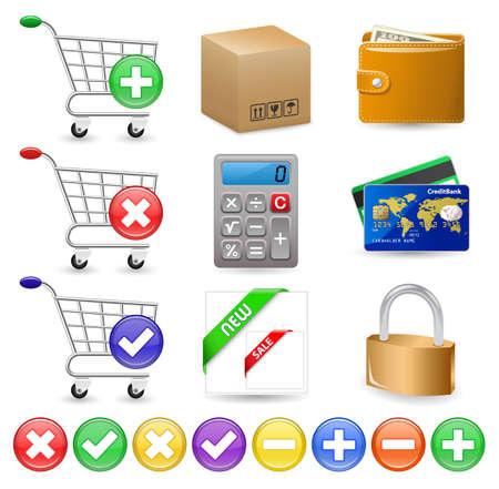 internet shop: Online Internet Shop. Web Shop icon set. Illustration