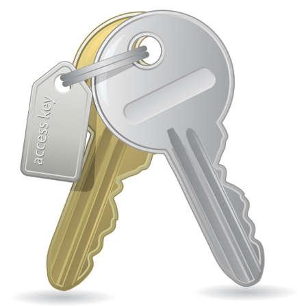 llaves: Hay un mont�n de claves. Ilustraci�n vectorial. Una ilustraci�n de un mont�n de claves con una etiqueta.