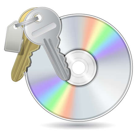 Compact Disk with Bunch of keys. Vector illustration of Optical Compact Disk. DVD, CD, Blue-Ray Disk. Vector