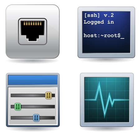 computer socket: Network and Hosting icons. Illustration