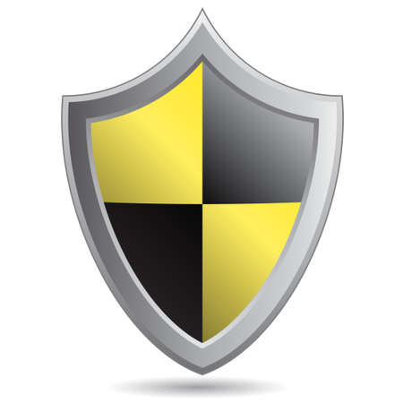 Yellow and black shield Vector