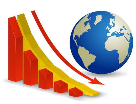 wirtschaftskrise: Globale wirtschaftliche Krise. Welt Rezession Illustration