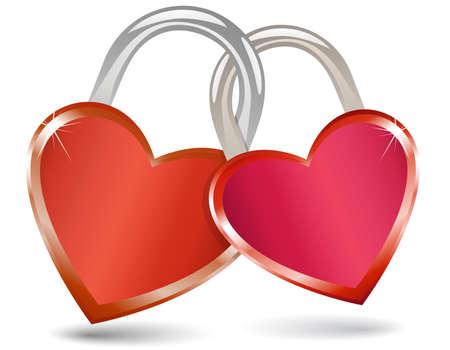 Locked Hearts. Padlocks in the shape of a heart. Stock Vector - 6223967