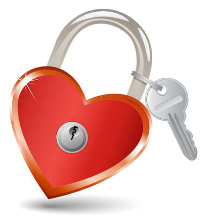 keyhole: Heart Lock and Key. Padlock in the shape of a heart. Illustration