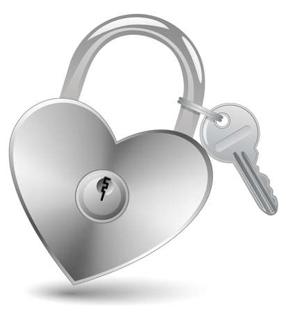 Heart Lock and Key. Padlock in the shape of a heart. Stock Vector - 6223973