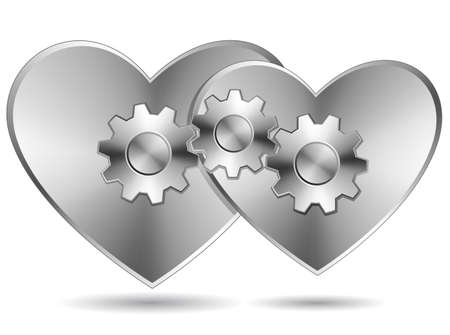 Two hearts connected. Two steel hearts with gears. Stock Vector - 6223983