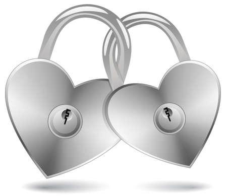 Locked Hearts. Padlocks in the shape of a heart. Stock Vector - 6223976