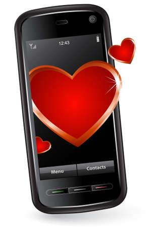 gprs: Valentine Cell Phone. Modern cell phone with hearts.