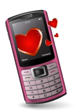 pink cell: Tel�fonos m�viles de San Valent�n. Rosa tel�fono celular con el coraz�n.
