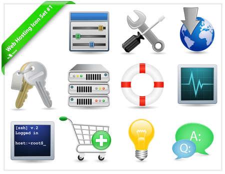 monitoring system: Web Hosting Icon Set Illustration