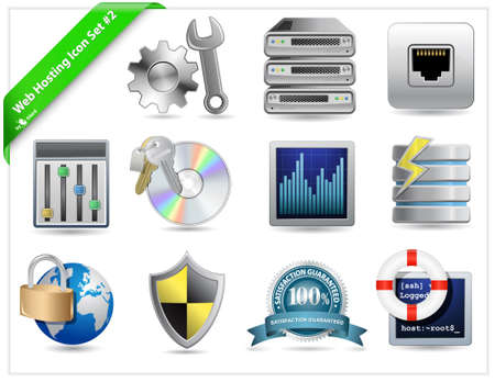 surveillance symbol: Web Hosting Icon Set Illustration