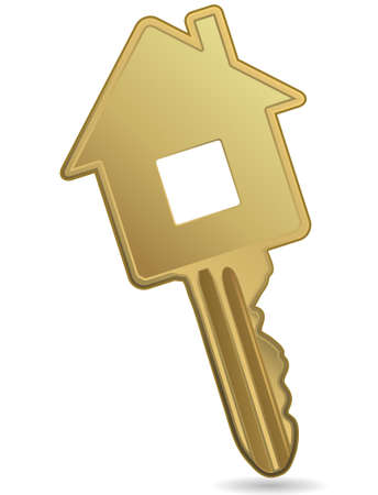 home owner: House metallic key. Concept of real estate. Illustration