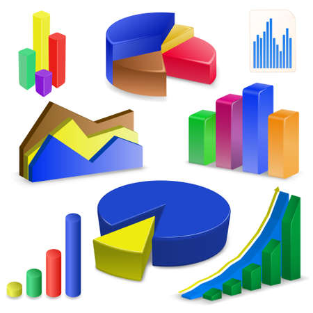 financial figures: Charts and Graphs Collection. Reports set. Illustration