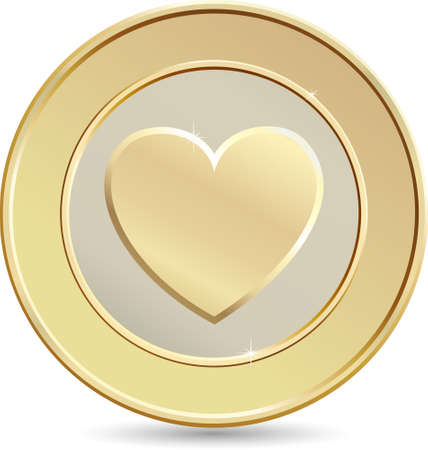 Gold coin. Heart shape. Vector