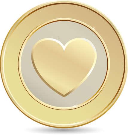 golden heart: Gold coin. Heart shape.