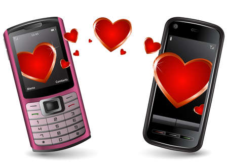 Valentine Cell Phones send and recieve SMS. Pink cell phone and Black Smartphone with hearts. Stock Vector - 6358188