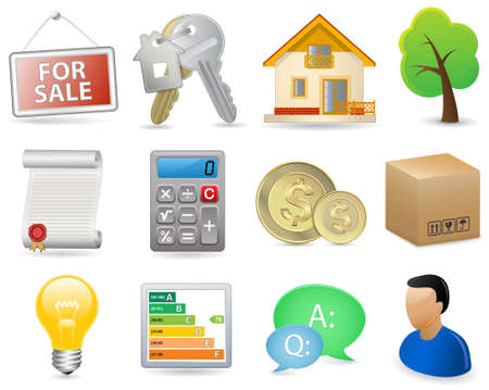 icone immobilier: Immobilier Icon Set Illustration