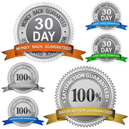 30 Dagen Money Back gegarandeerde en 100% tevredenheid gegarandeerde teken set Vector Illustratie