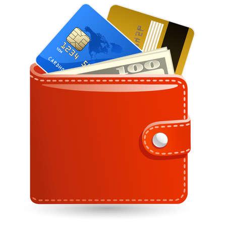 Billeteras de cuero con dinero y tarjetas de crédito