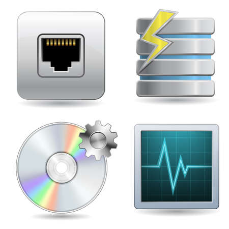 information medium: Web Hosting Icon Set Illustration