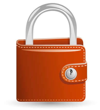 Money security concept. Locked Wallet. Illustration of a wallet closed on the lock. Vector