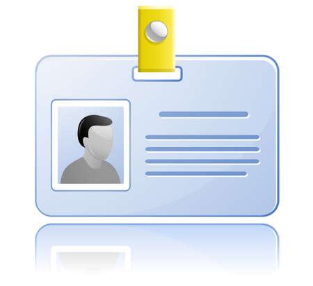 id badge: ID card.  Name Tag.