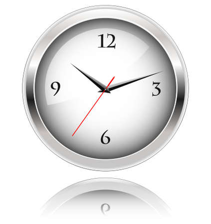 Office clock with reflection on white background Stock Vector - 6358227