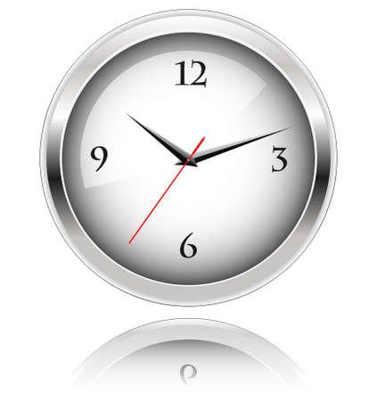office clock: Reloj de oficina con una reflexi�n sobre fondo blanco