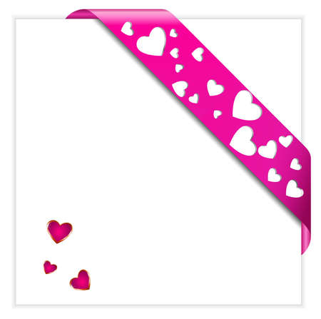 Heart shaped perforated Valentine pink ribbon Stock Vector - 6358226