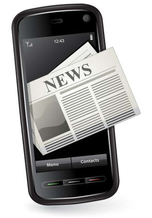 Mobile News Concept. Smartphone with Newspaper Stock Vector - 6358233