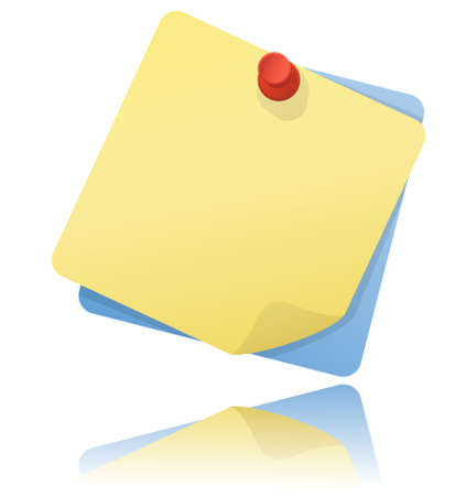 yellow pushpin: Yellow and blue note papers with red pushpin with reflection