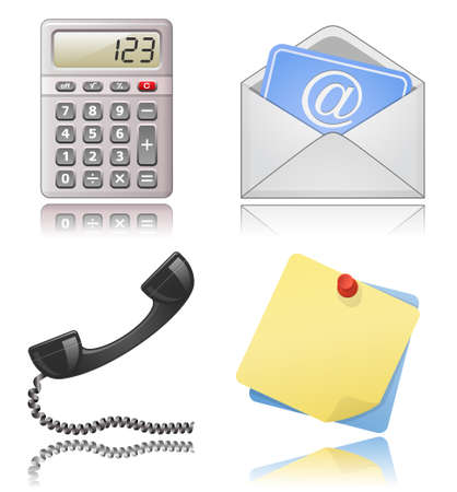 Office supplies. Note papers, phone receiver, mail envelope. Stock Vector - 6397005