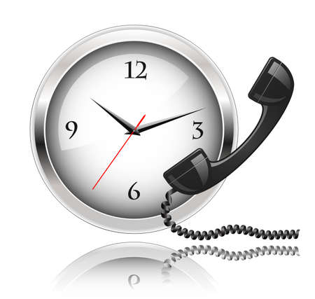 Wall clock and telephone receiver. Round the Clock Support or 24x7 Support. Vetores