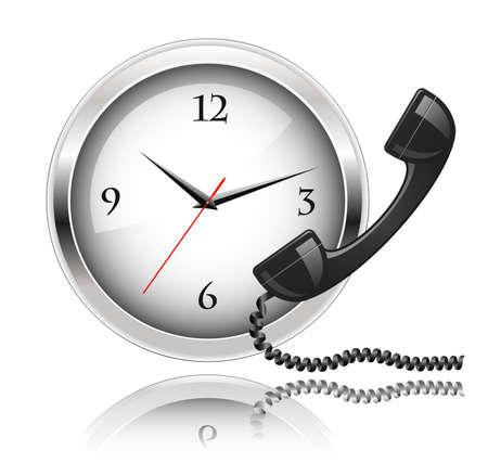 Wand klok en telefoon hoorn. Rond de klok Support of 24x7 support. Vector Illustratie