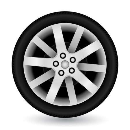car wheel: Rueda de coche sobre fondo blanco. ilustraci�n.