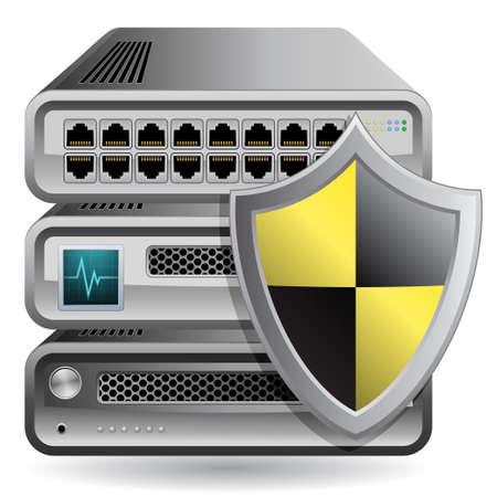 server: Firewall di rete, router, switch o server. Server di difensore. Icone di apparecchiature di rete.